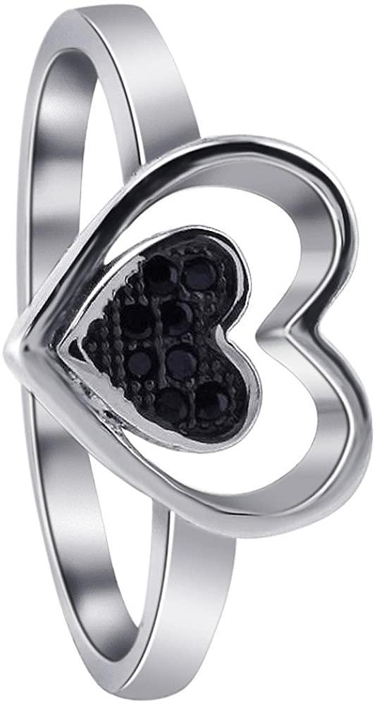 Gem Avenue Twin Heart Black Cubic Zirconia 925 Sterling Silver Ring