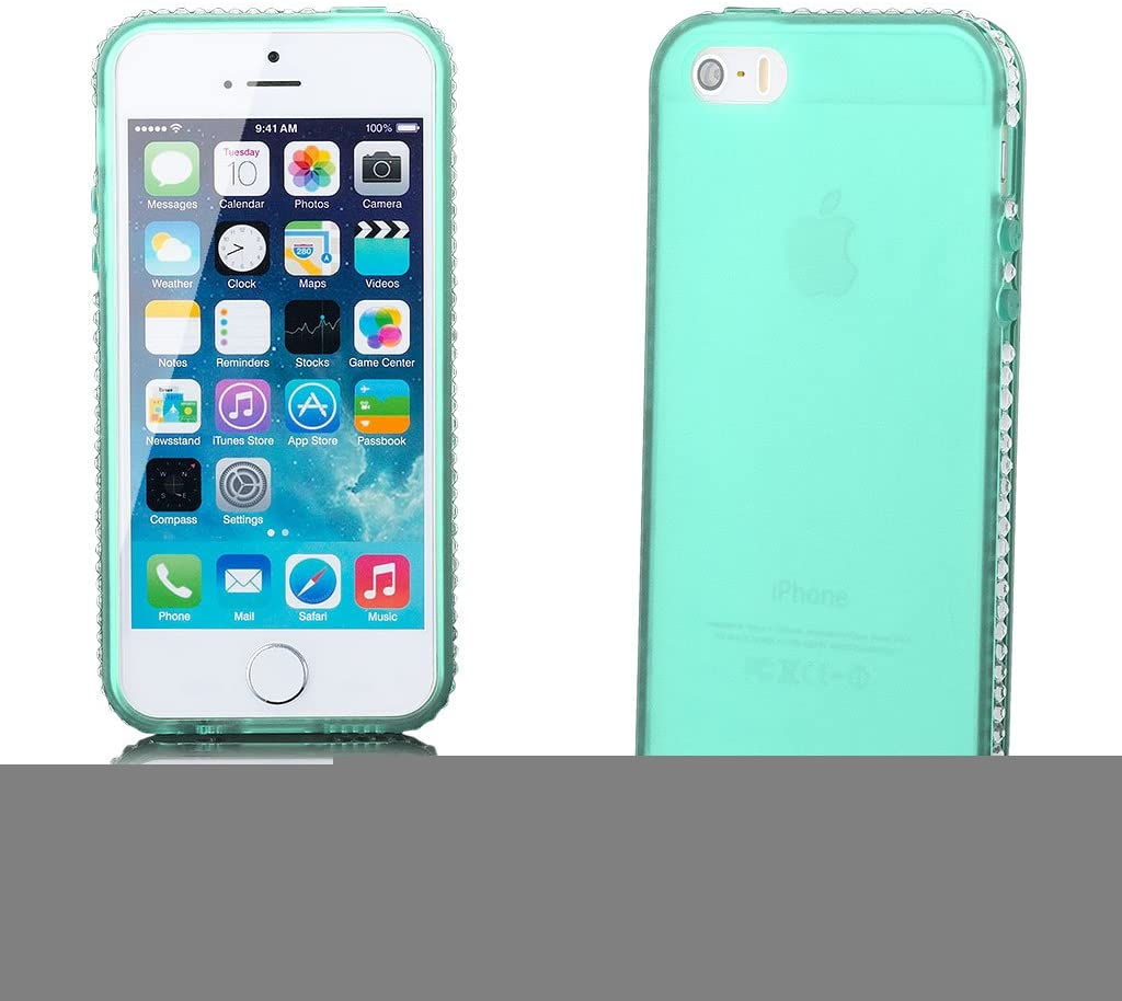 iCues | Compatible with Apple iPhone SE / 5S / 5 | Chrome Frame with Rhinestone Back Green |[Screen Protector Included] Case Cover Shell Shookproof