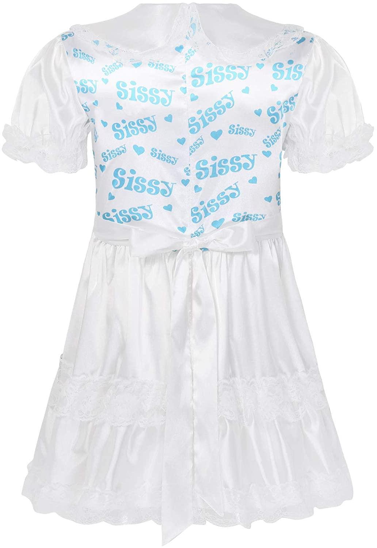 Hularka Men's Adult Satin Lace Frilly Sissy Dress Lingerie Doll Collar Crossdress Nightwear Nightdress