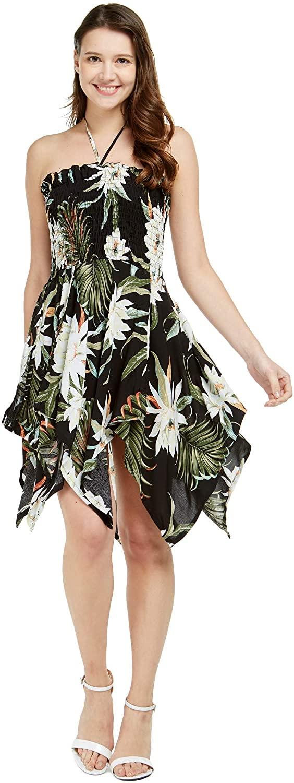 Women's Hawaiian Gypsy Fairy Uneven Bottom Luau Dress in Wispy Cereus