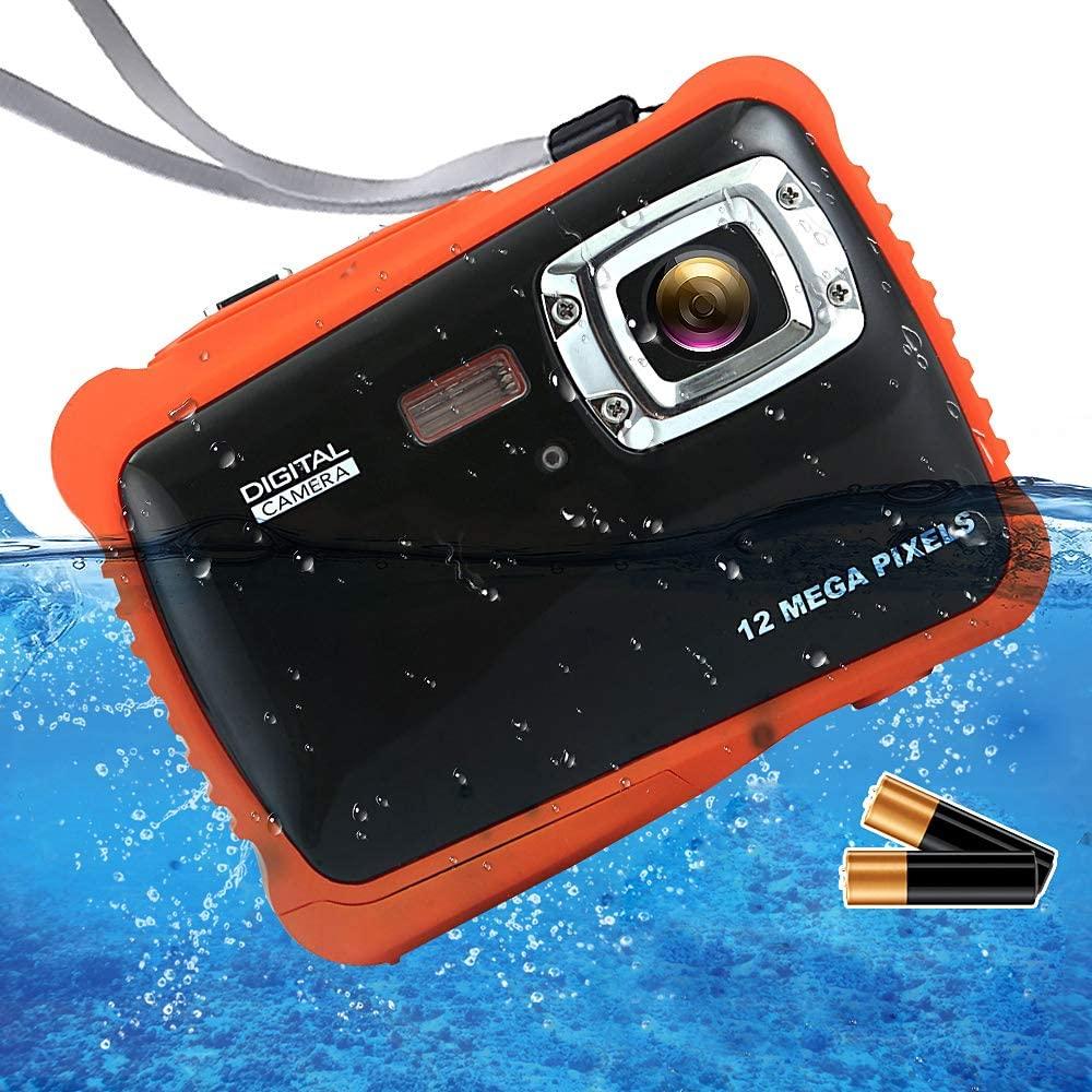 ISHARE Waterproof Kids Camera, Underwater 12MP 1080P Waterproof Digital Camera with 2