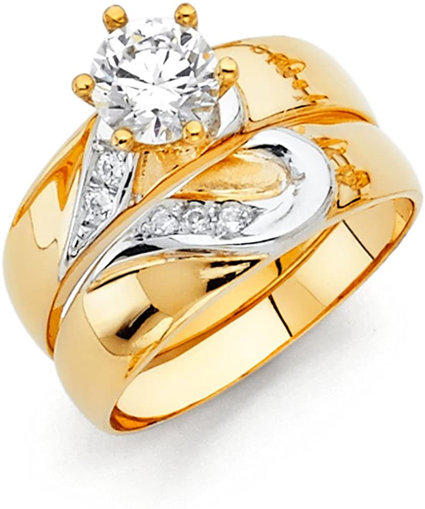 14k Two Tone Gold SOLID Engagement Ring and Wedding Band 2 Piece Set