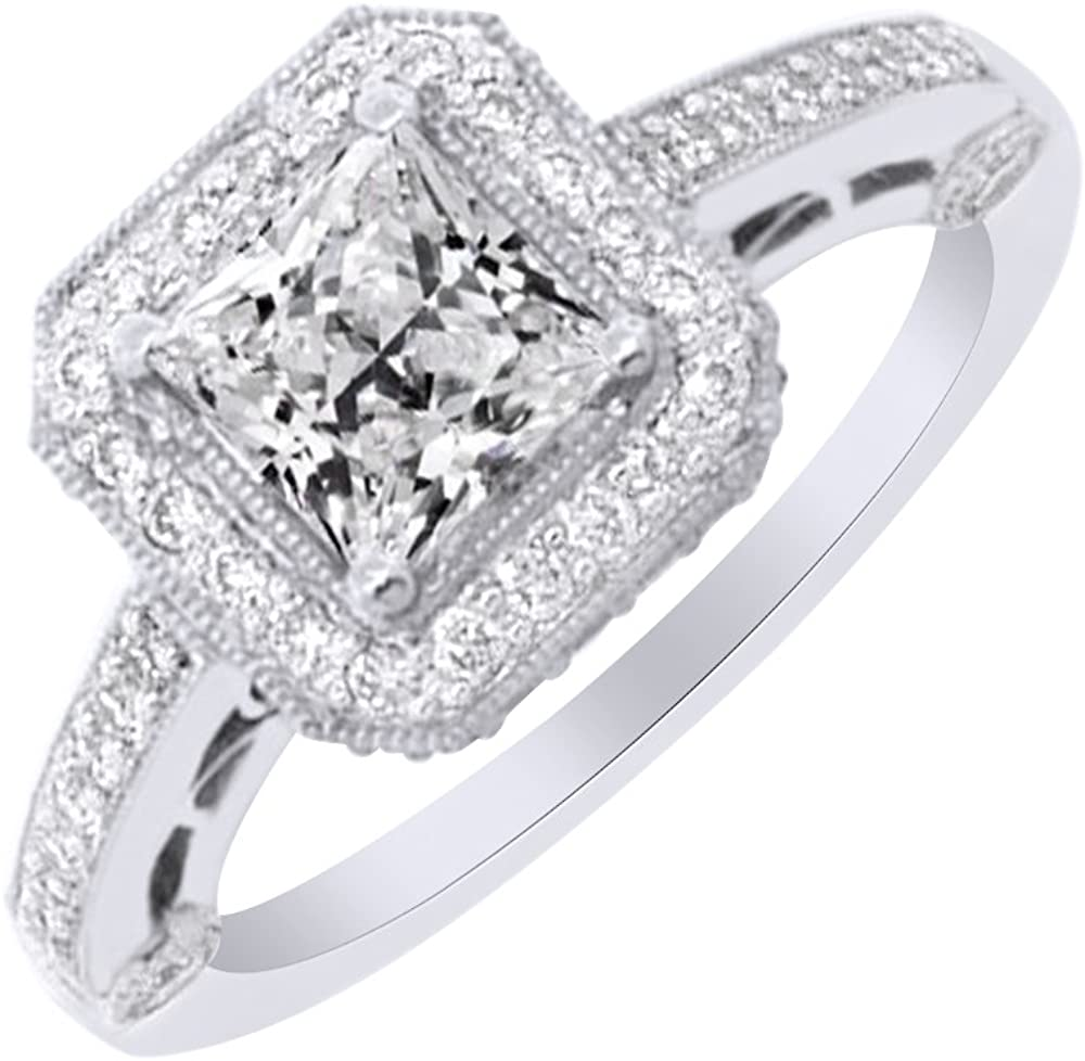 AFFY Princess Cut White Cubic Zirconia Engagement Ring in 14k Gold Over Sterling Silver (1.35 Cttw)