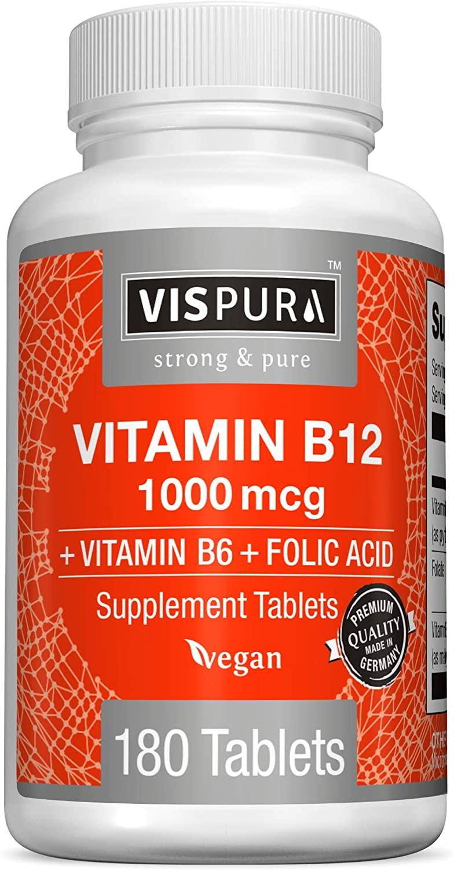 Vitamin B12 1000 mcg Methylcobalamin + B6/Folic Acid, 180 Vegan Tablets, Best Supplement to Increase Energy, Enhance Mood, Sharpen Focus and Boost Metabolism*, Organic Supplement Without Additives