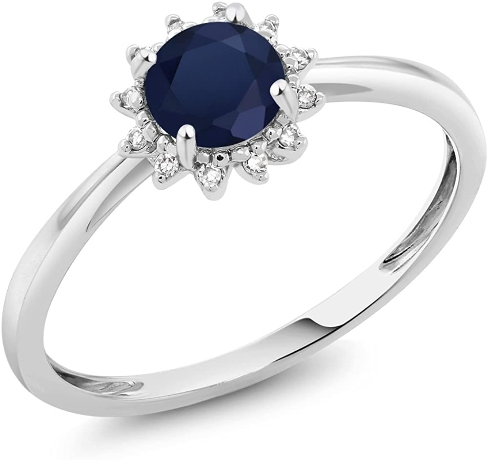 Gem Stone King 10K White Gold Blue Sapphire and Diamond Women Engagement Ring (0.60 Ct Round, Available 5,6,7,8,9)