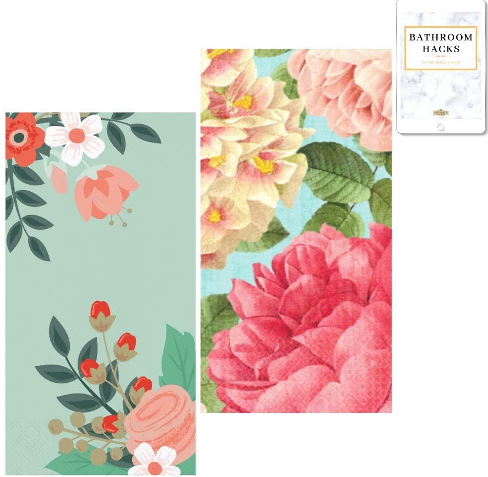 Disposable Guest Hand Paper Towel for Bathroom (Modern Flowers, 3-ply; Blissful Bloom, 2-ply); 32 Decorative Paper Napkins; 8 x 4 Inches Folded; Teal, Mint Green, Hot Pink, Beige; Floral Decor