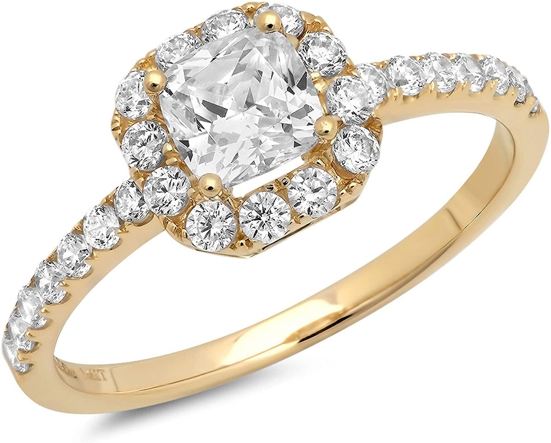 Clara Pucci 1.3 CT Princess Cut Pave Halo Bridal Engagement Promise band Ring 14k Yellow Gold