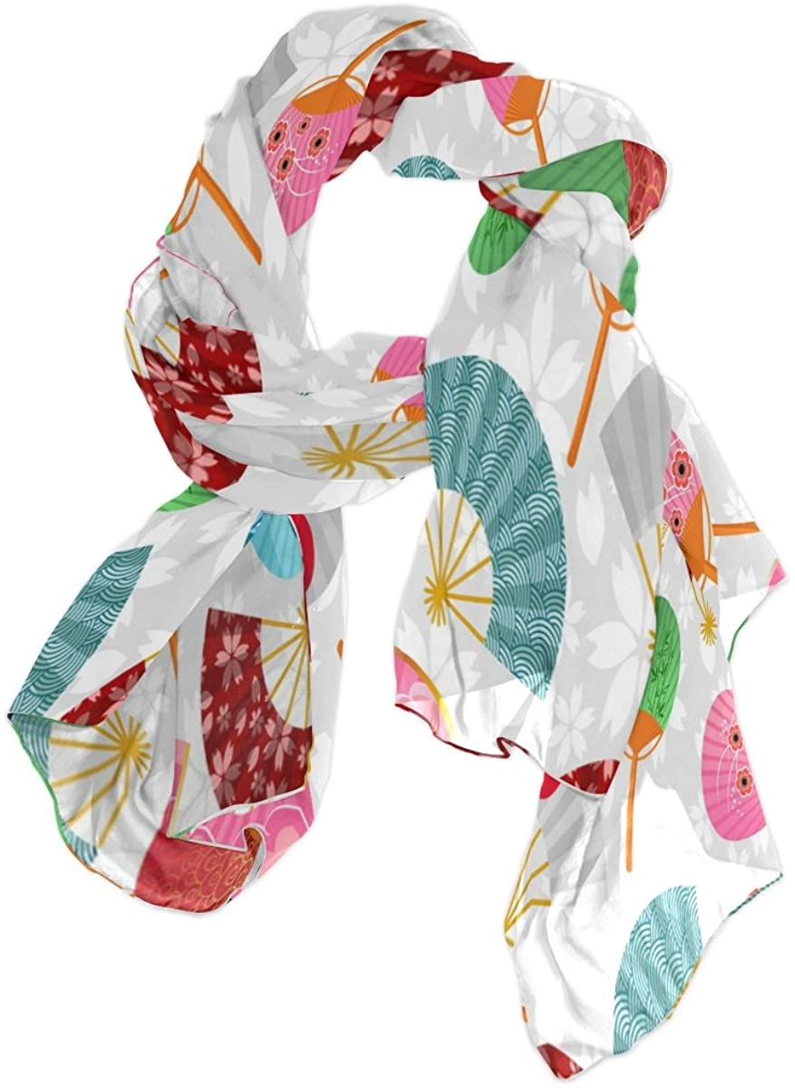 Use4 Japanese Fan Floral Chiffon Silk Long Scarf Shawl Wrap
