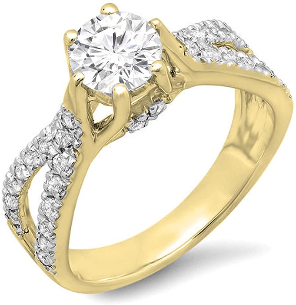 Dazzlingrock Collection 1.14 Carat (ctw) 14K Gold Round Diamond Engagement Bridal Split Shank Ring; 0.74 CT Center
