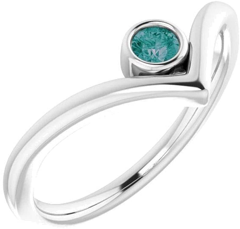 Sterling Silver Alexandrite Solitaire Bezel-Set V Ring - Size 7