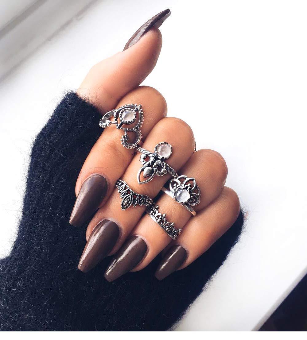Acedre Boho Vintage Silver Crystal Leaf Knuckle Ring Set Carving Flower Turquoise Elephant Moon Stackable Rings for women (Pack of 5)