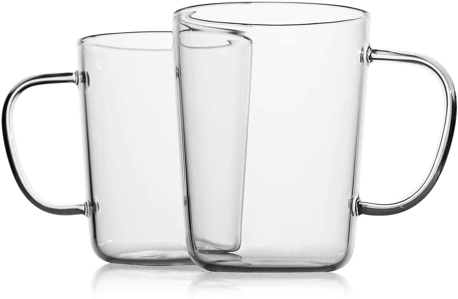 LUXU Glass Coffee Mugs(Set of 2)-17 oz,Clear Beer Mugs,Glass Tea Cups with Comfortable Handle,Lead-free Drinking Glasses,Perfect for Latte,Espresso,Juice,Water,Milk or Hot and Cold Beverage