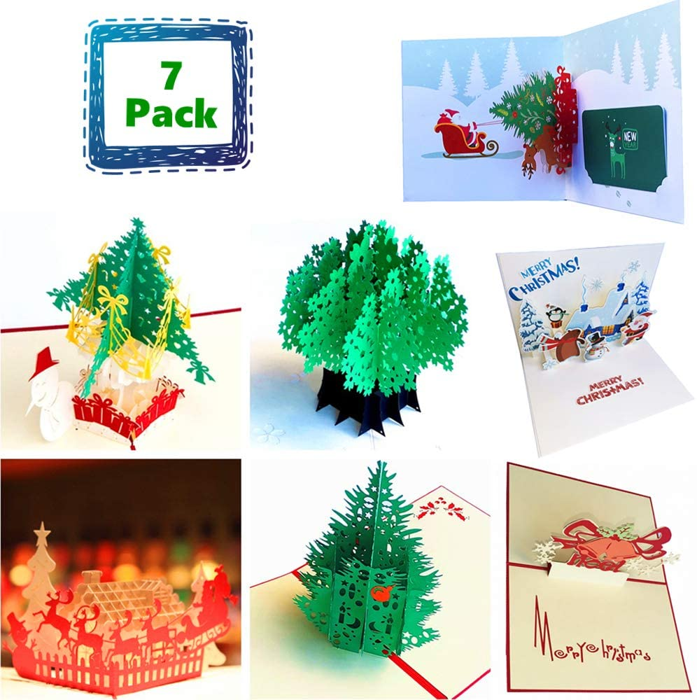 7-Packed Christmas Greeting Card, 3D Pop Up Cards Congratulations Gift Cards for Christmas, with Envelope