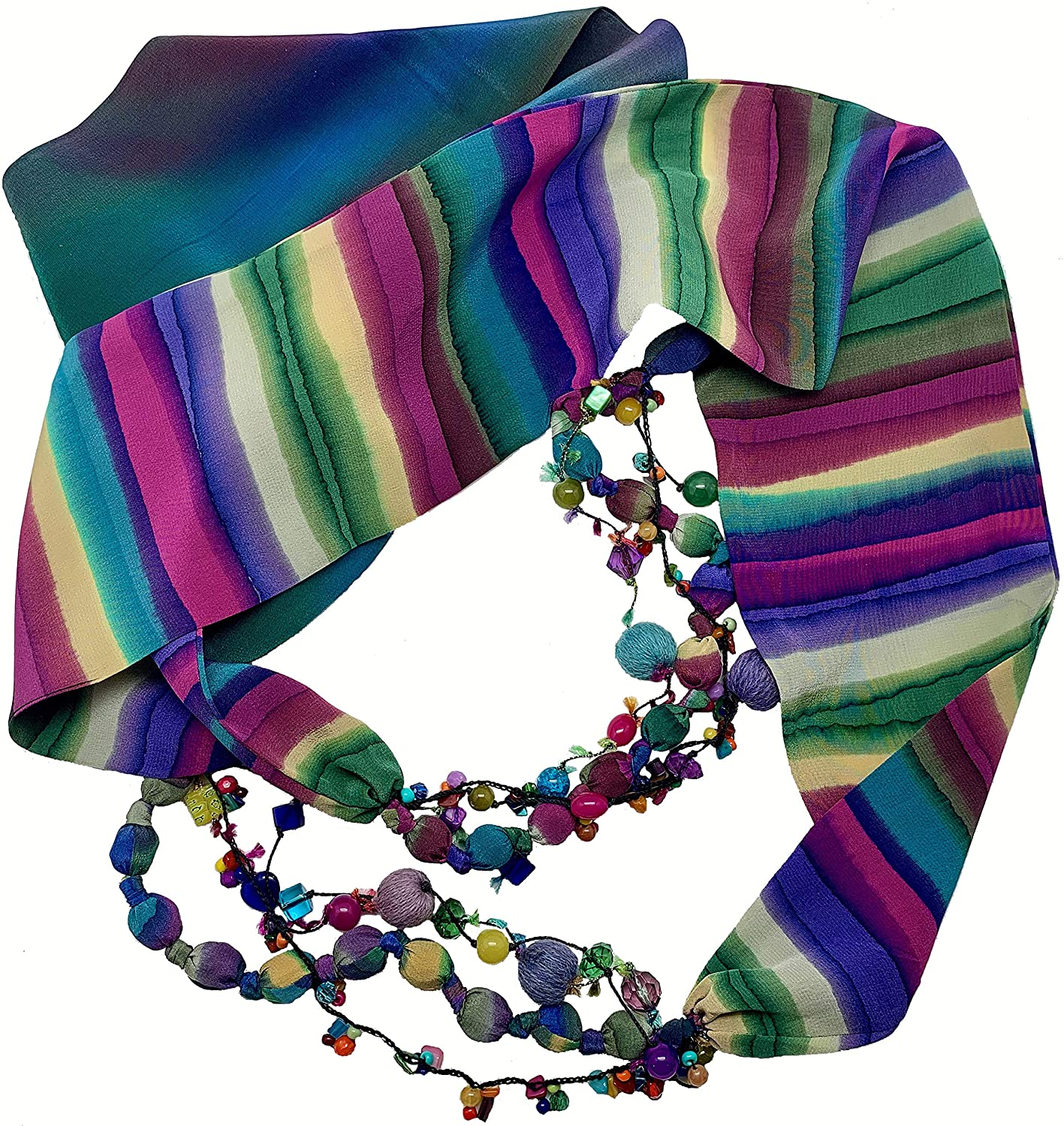 Women's Recycled Hand Painted Bleed Silk Infinity Scarf Necklace with non precious beads by LRW DESIGNS