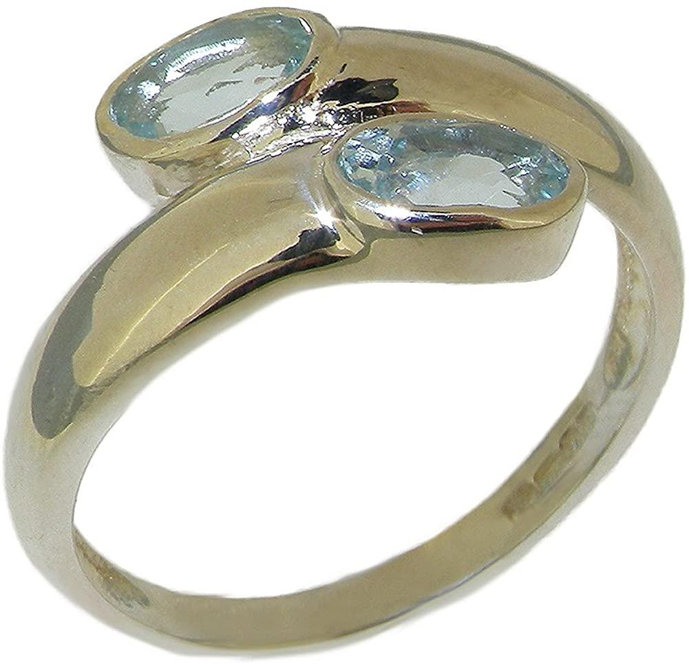 925 Sterling Silver Real Genuine Aquamarine Womens Wedding Band Ring