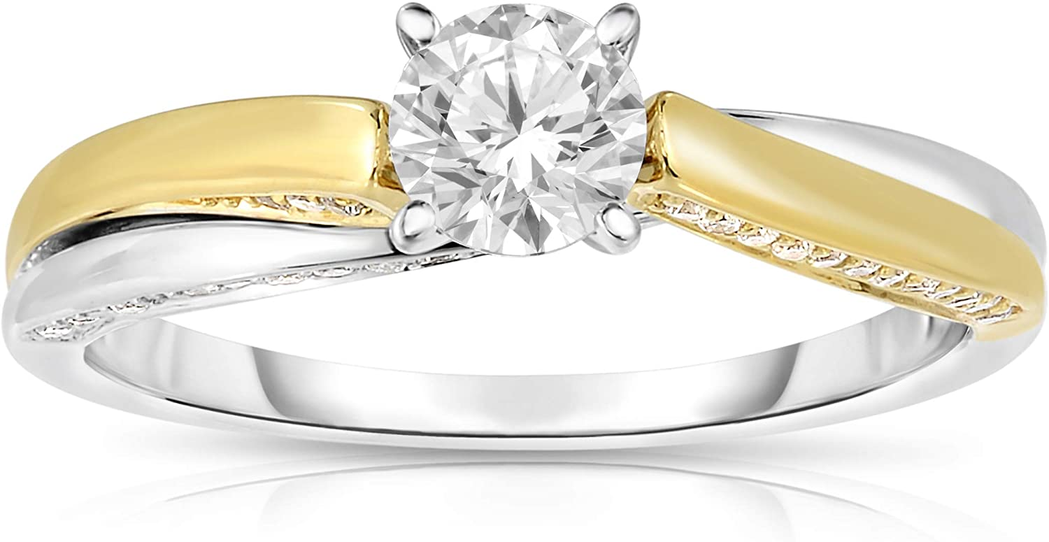 NATALIA DRAKE 14K Yellow and White Gold Swirl 3/4 CTTW Diamond Engagement Ring for Women (Color H-I/Clarity I1-I2)