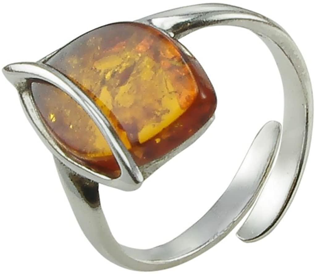 HolidayGiftShops Honey Amber and Sterling Silver Adjustable Ring Hanna