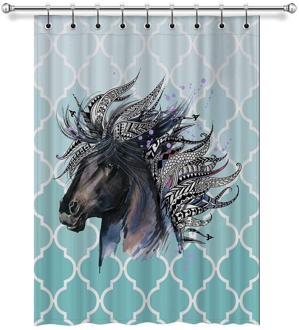 InterestPrint Watercolor Animal Unicorn Head Art with Teal Moroccan Trellis Blackout Curtains Room Darkening Window Treatment Curtains with Rings, 52x72 Inch Length, 1 Panel