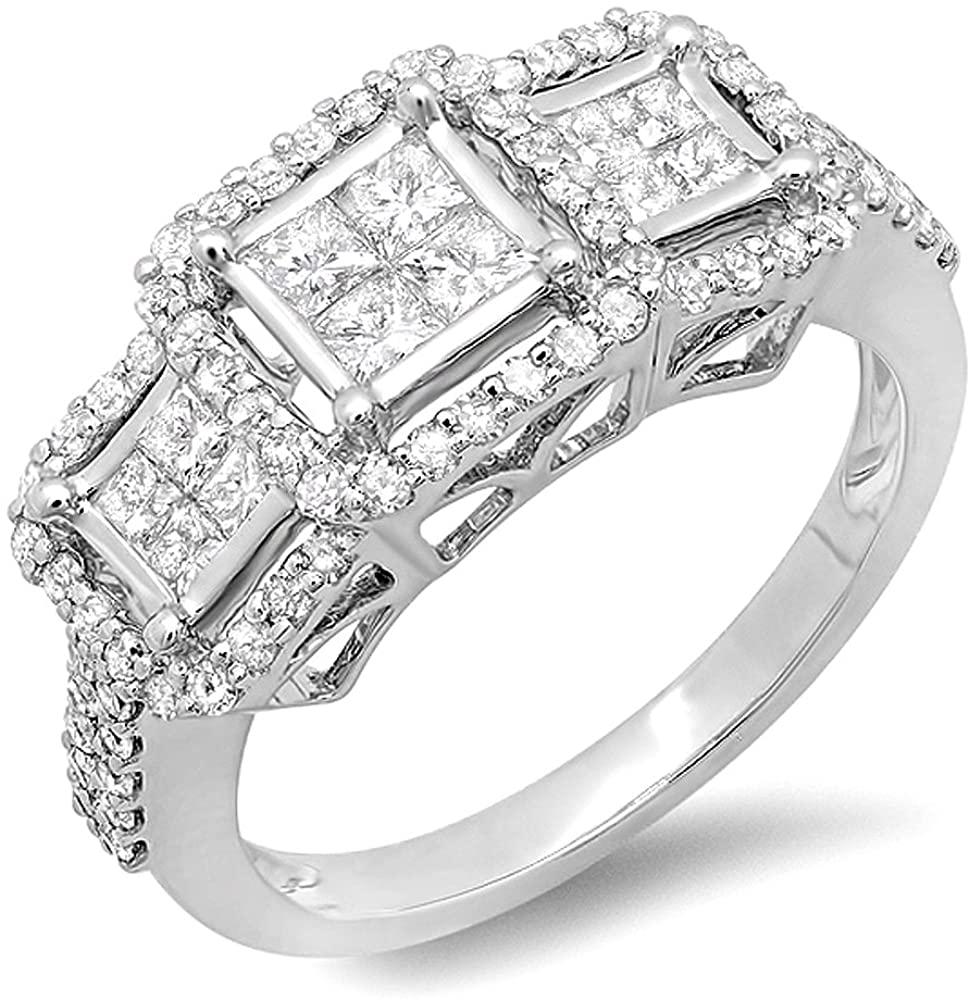 Dazzlingrock Collection 1.25 Carat (ctw) 14k Round & Princess Diamond 3 stone Ladies Engagement Bridal Ring 1 1/4 CT, White Gold