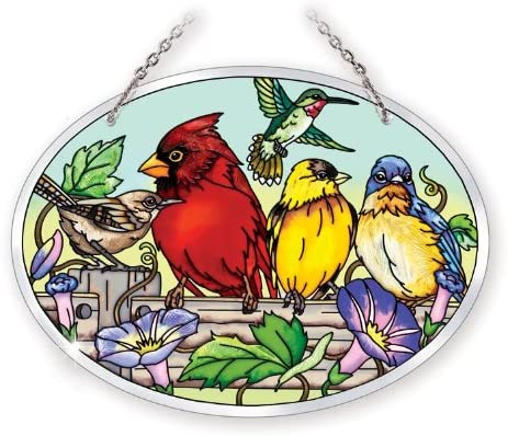 Amia 41054 Hand Painted Beveled Glass 7 by 5-1/2-Inch Oval Sun Catcher, Multiple Birds on Rail Design, Medium