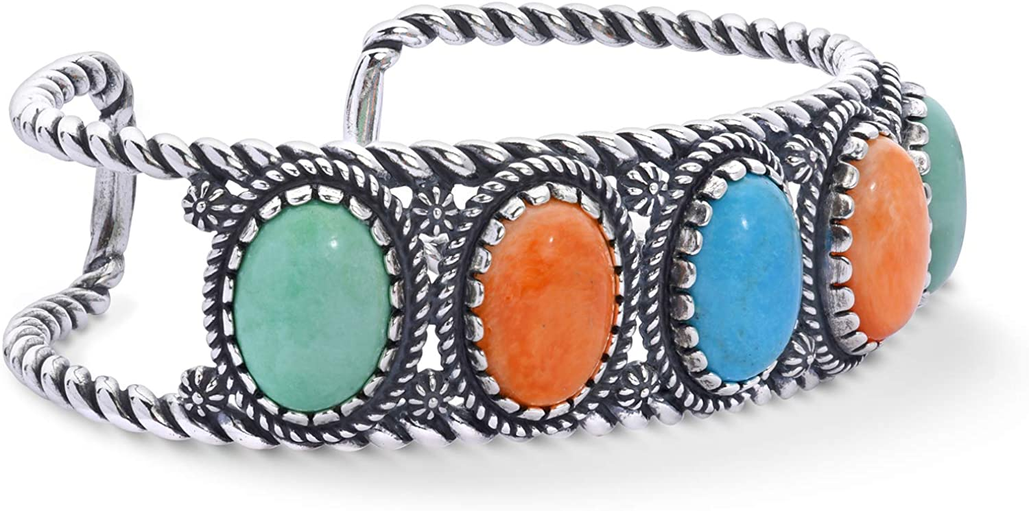 American West Sterling Silver Green Variscite, Orange Spiny Oyster and Blue Turquoise Gemstone 5-Stone Rope Cuff Bracelet Size Large