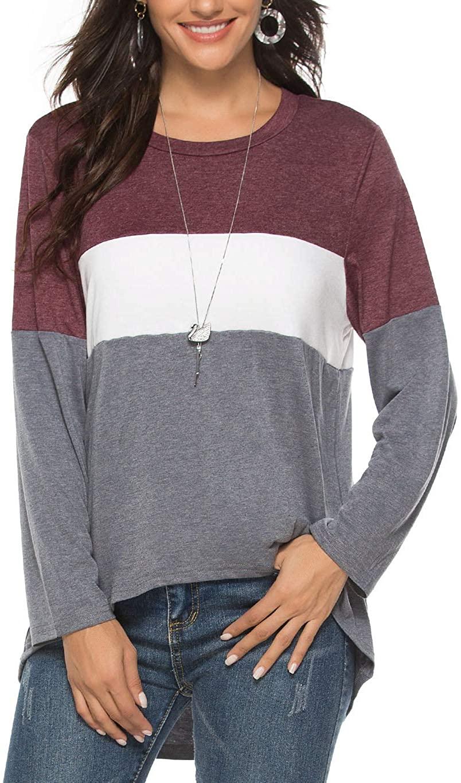 Koitmy Womens Long Sleeve T Shirt 3 Colors Block Patchwork Loose Blouse Tops