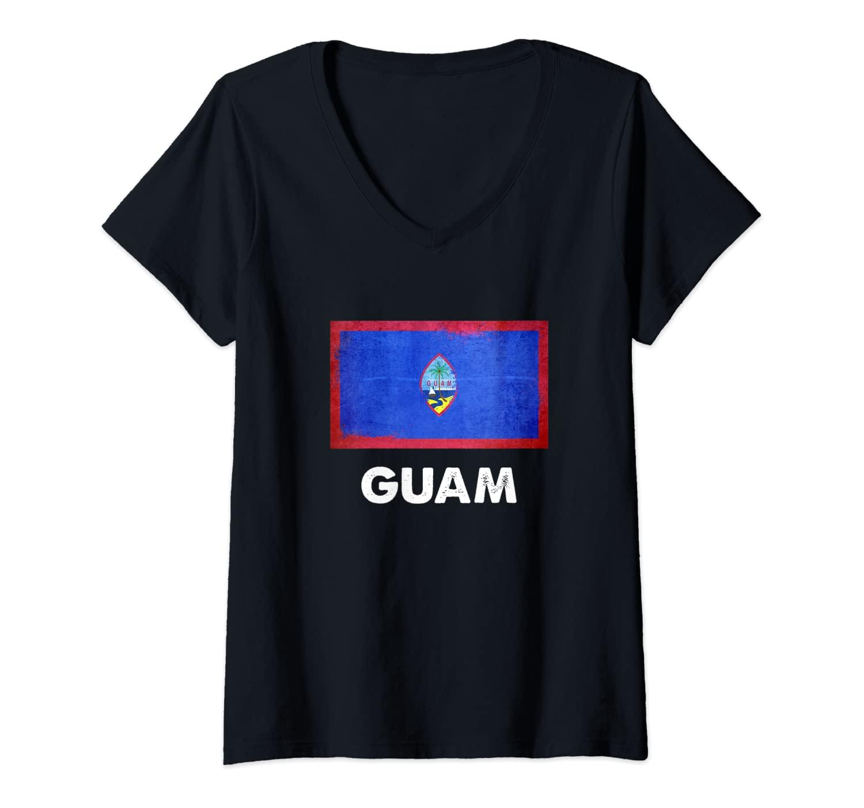 Womens Guadeloupean Guam Flag V-Neck T-Shirt