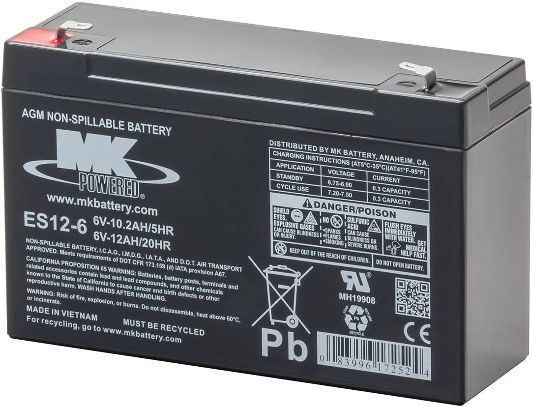 MK Battery ES12-6 Maintenance-Free Rechargeable Sealed Lead-Acid Battery