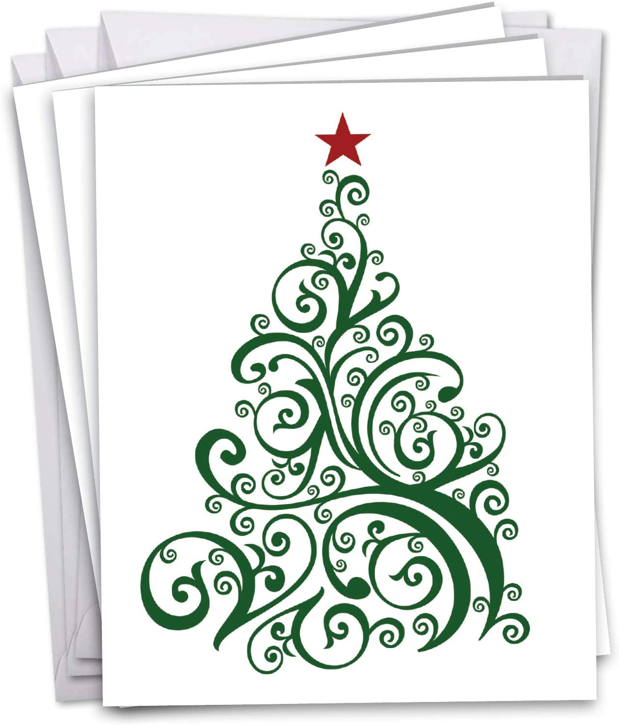 JUST FIR YOU (3 PACK) - Stylish and Elegant XL Holiday Design Appreciation Card - Merry Christmas Xmas Tree Thank You Card - Holiday Greeting Card w/Envelope 8.5 x 11 Inch J6019DXTG3