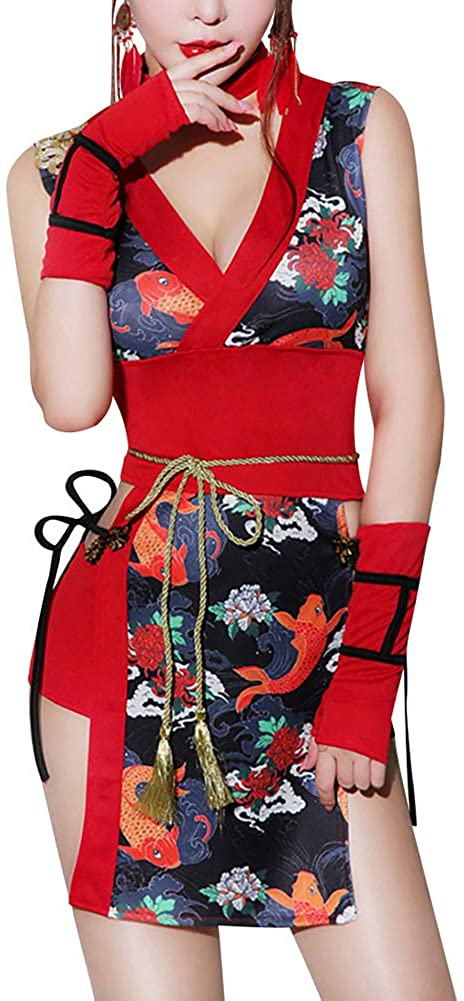 Sexy Women Short Kimono Dress Open Front Cardigan Cover Up Outfit Chinese Geisha Cosplay Costume