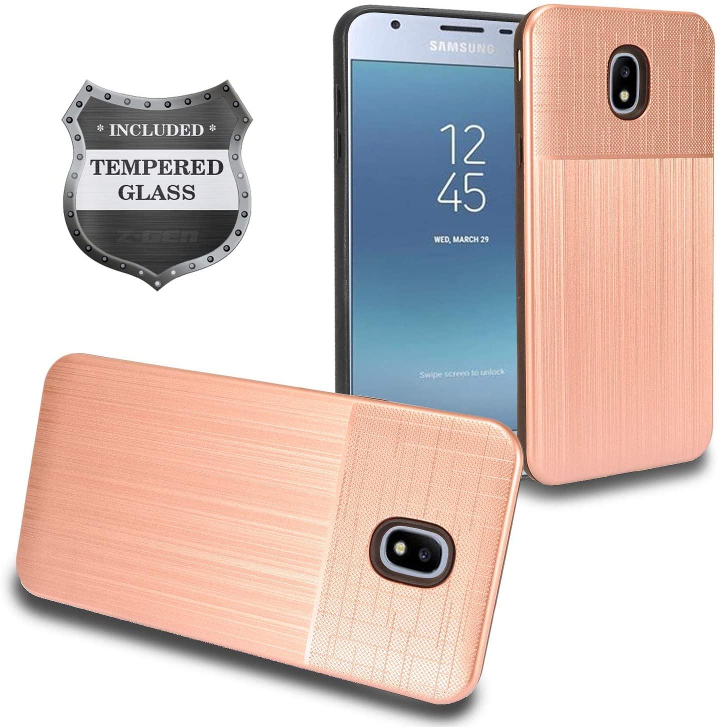 Z-GEN - Galaxy J7 2018, J7 Refine, J7 Star, J7 Crown, J7 Aura, J7 Top, J7 V J7V 2nd Gen J737 - Hybrid Phone Case for Samsung + Tempered Glass Screen Protector - CF2 Rosegold