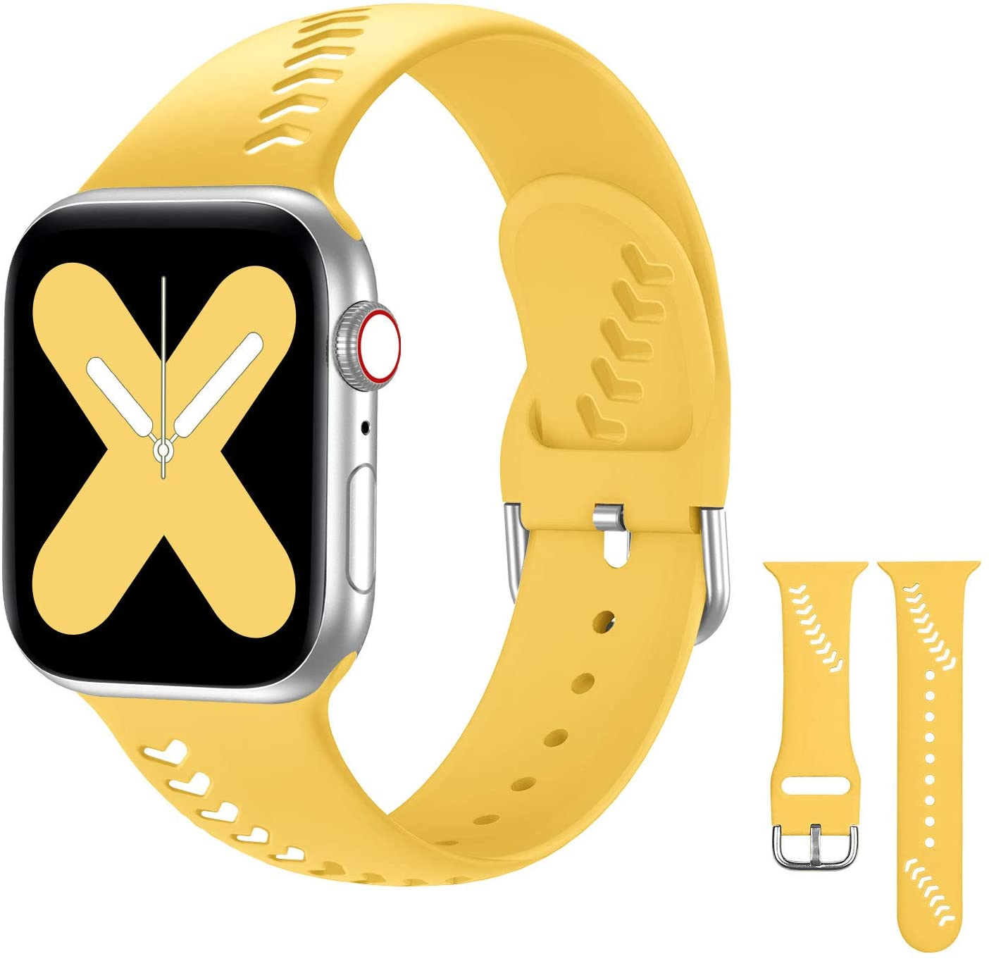 Doasuwish Compatible with Apple Watch Band 38mm 40mm, Baseball Pattern Sport Silicone Band Hollowed-Out Thin Wristband Watch Strap Compatible for Apple Watch Series 6/5/4/3/2/1, Yellow