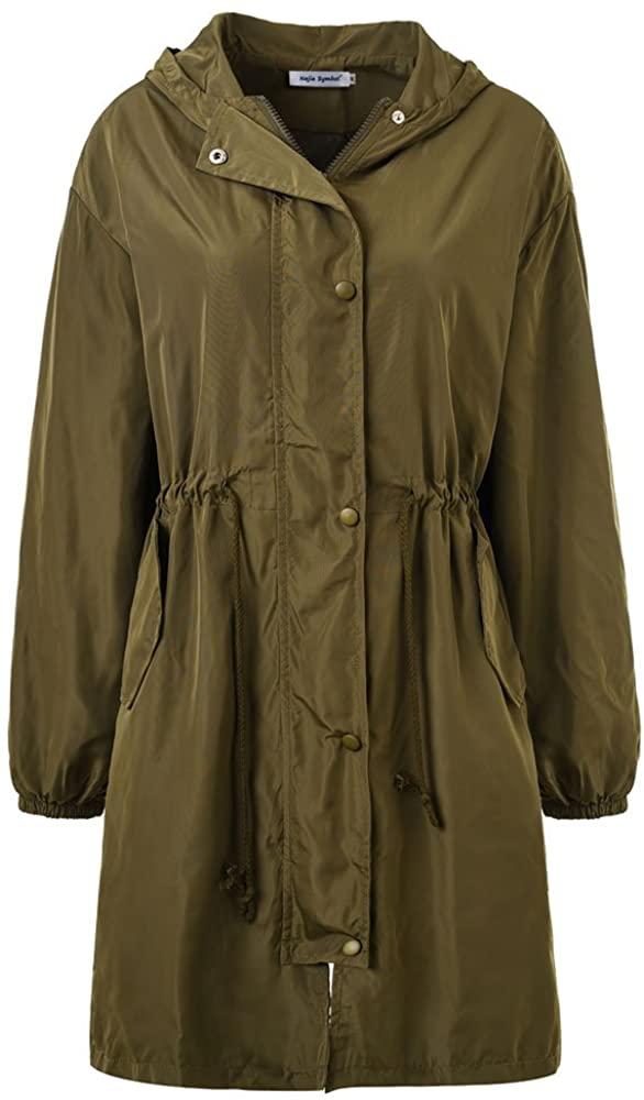 Najia Symbol Women's Spring Lightweight Long Windbreaker Hoodie Trench Coats
