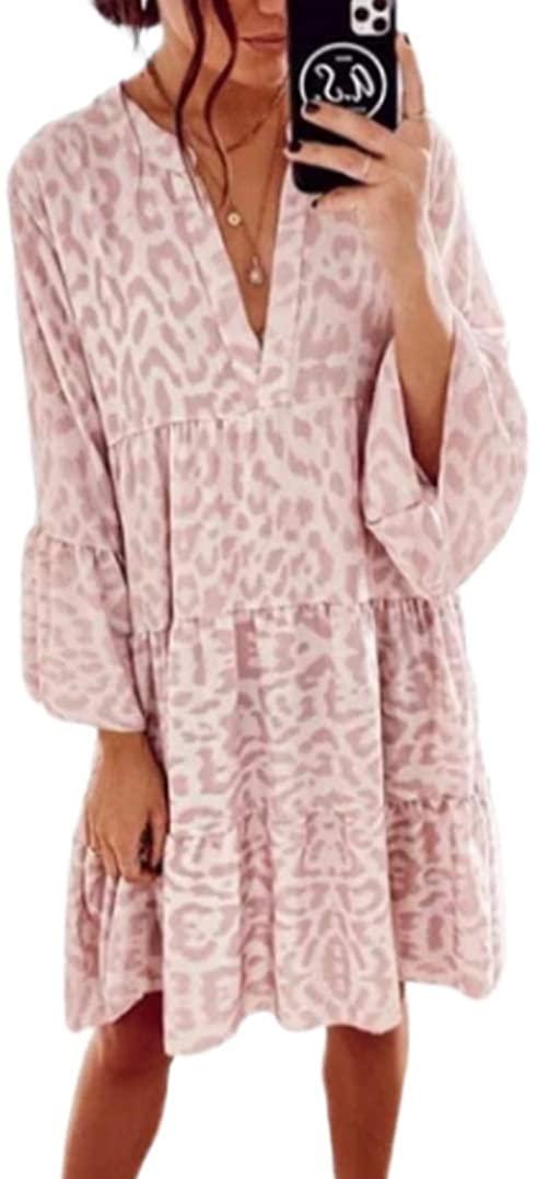 Faithtur Women's Short Sleeve V Neck Solid Color Leopard Print Tunic Party Swing Mini Dress
