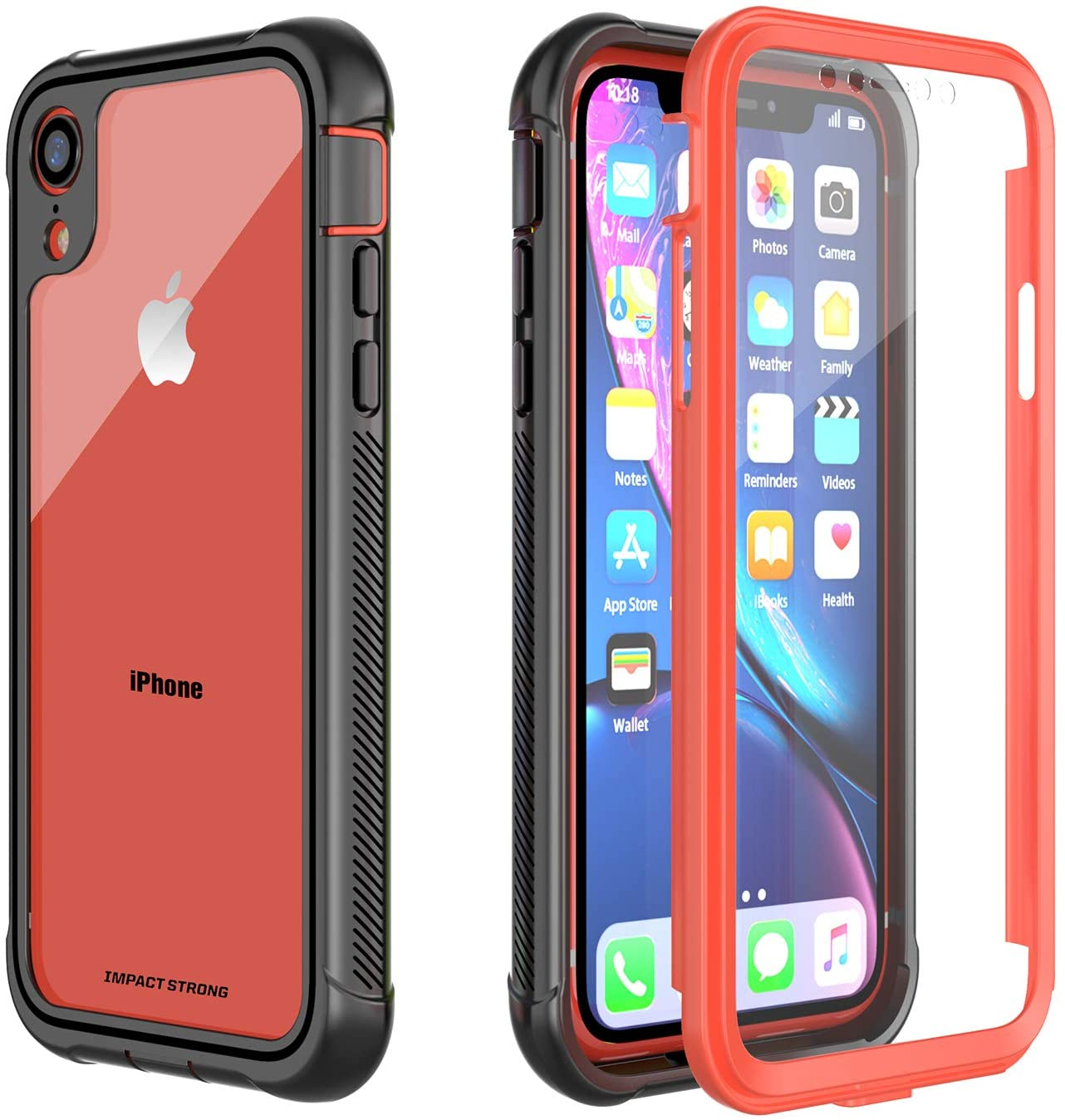 ImpactStrong iPhone XR Clear Case, Ultra Protective Case with Built-in Clear Screen Protector Clear Transparent Full Body Cover for iPhone XR 2018 6.1 inch (Coral)