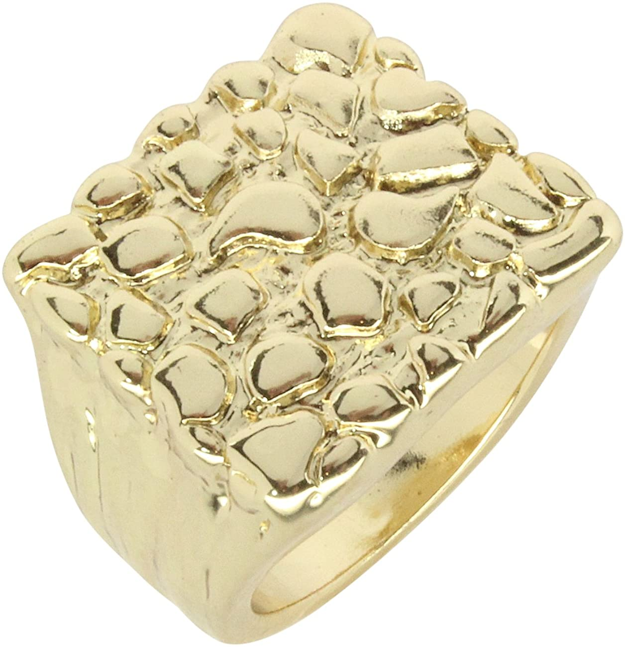 Nugget Design 14k Gold Plated Square Pinky Fashion Hip Hop Ring Size 5-14