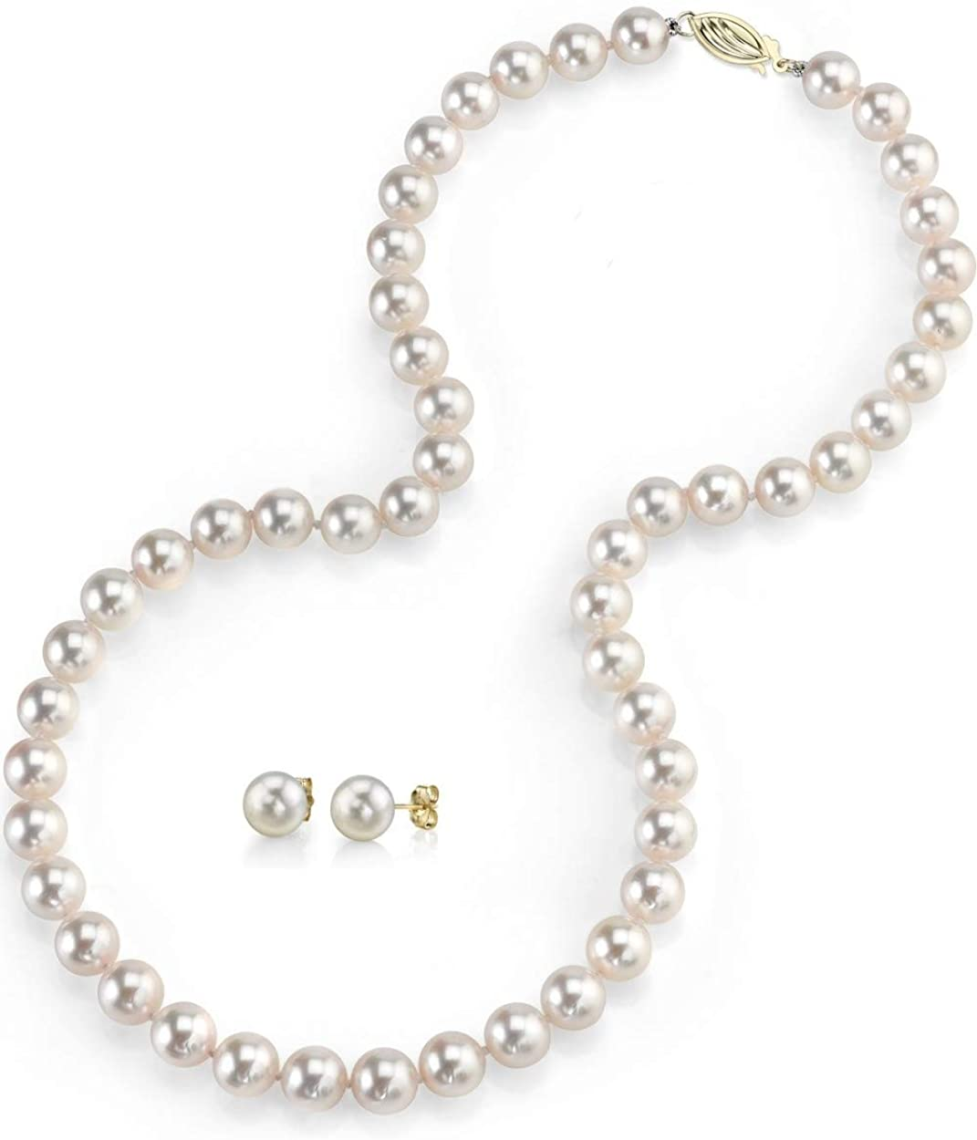 Freshwater Cultured Pearl Necklace Set for Women Includes Stud Earrings with 14K Gold in AAAA Quality - THE PEARL SOURCE