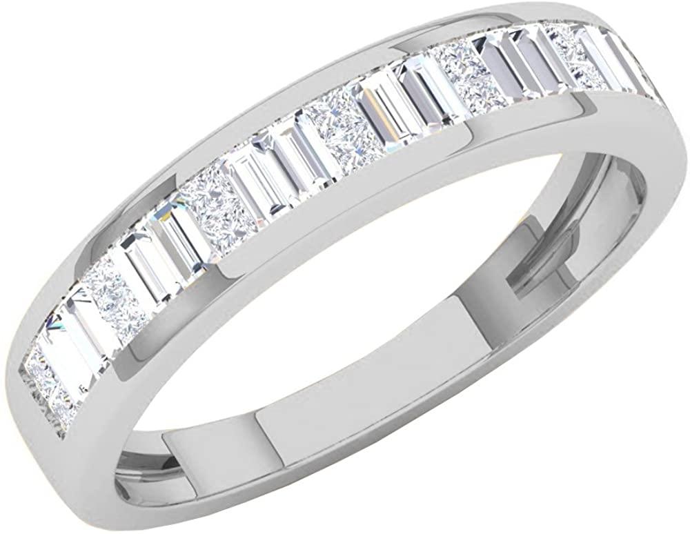 Dazzlingrock Collection 0.60 Carat (ctw) 14K Gold Princess & Baguette White Diamond Ladies Invisible Wedding Band