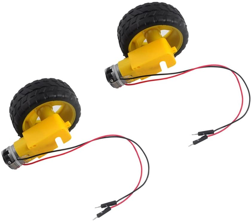 2 Sets TT DC Gearbox Motor 3-6V Gear Motor with Tire Wheel for Arduino Smart Car Robot