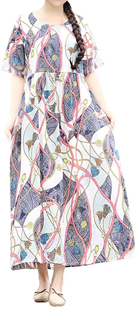 NREALY Vestido Womens Ethnic Style Cotton Linen O-Neck Print Short-Sleeve Plus Size Loose Dress