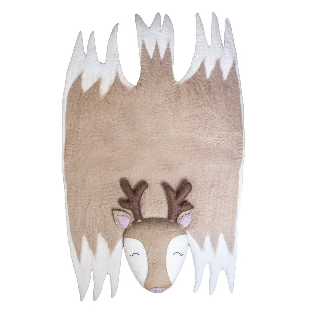 Kids Reindeer Felt Wool Rug Fair Trade Childrens