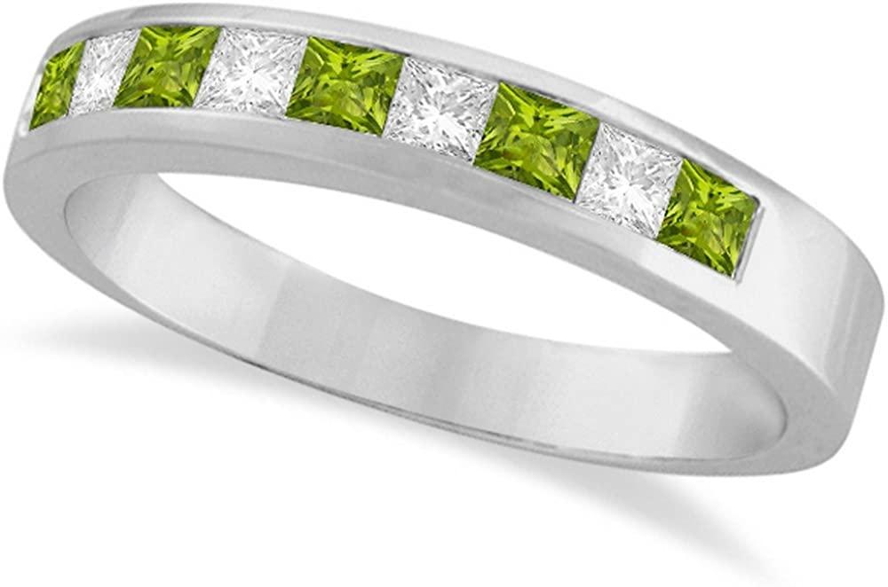 14k Gold Princess Channel-Set Diamond and Peridot Ring Band