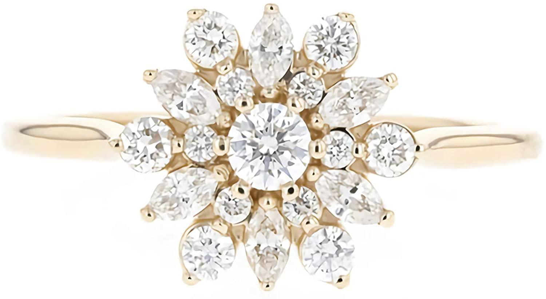 0.5 Carat (ctw) moissanite engagement ring 14k gold rings – engagement ring for women