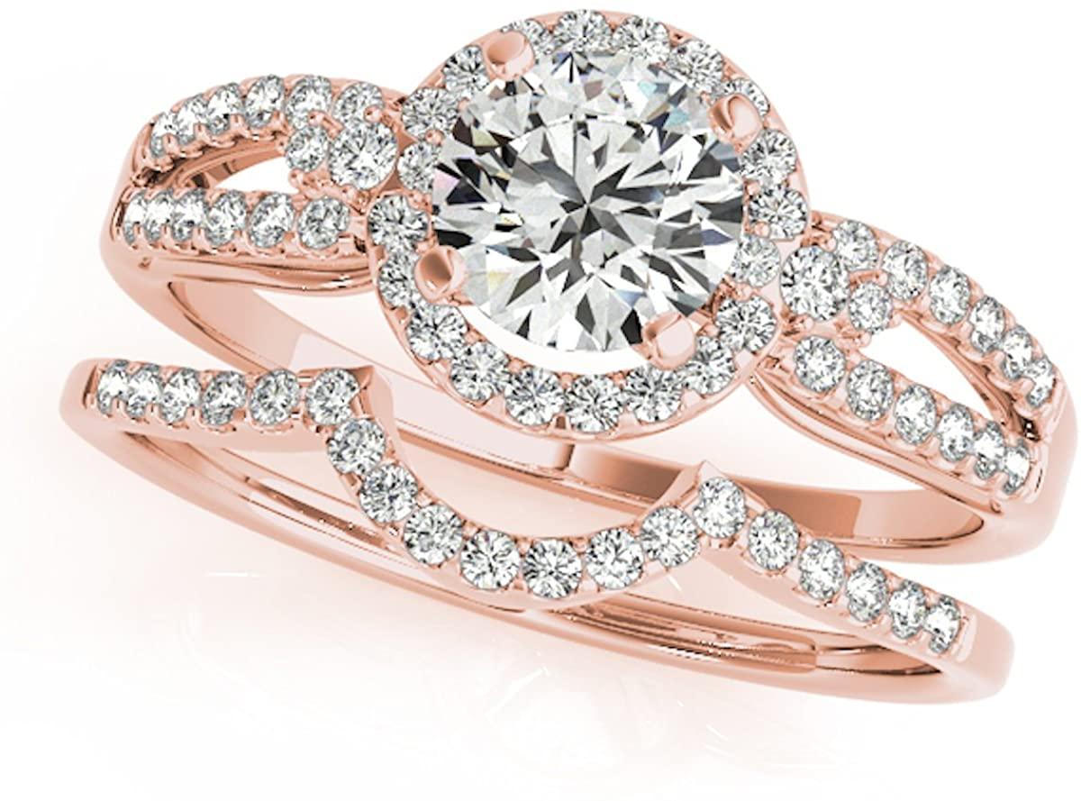 3/4 Carat Halo Daimond Engagement Flower Shape Bridal Set 14K Solid Rose, White And Yellow Gold