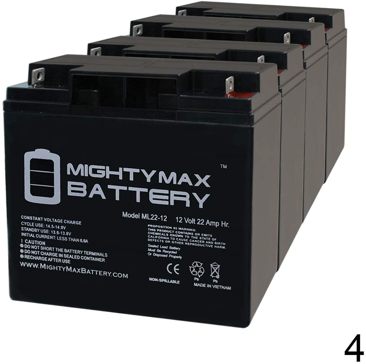 Mighty Max Battery 12V 22AH SLA Battery Replacement for Century ES8500-4 Pack Brand Product