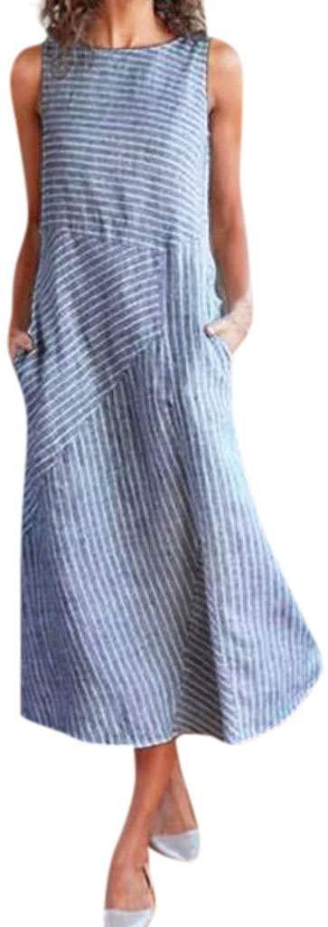 Fineday Dress for Women, Women Casual Striped Sleeveless Dress Crew Neck Linen Pocket Long Dress, Womens Dresses Elegant