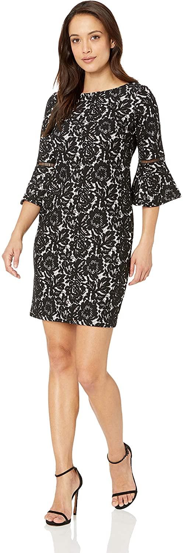Jessica Howard Womens Petite Three Quarter Bell Sleeve Dress