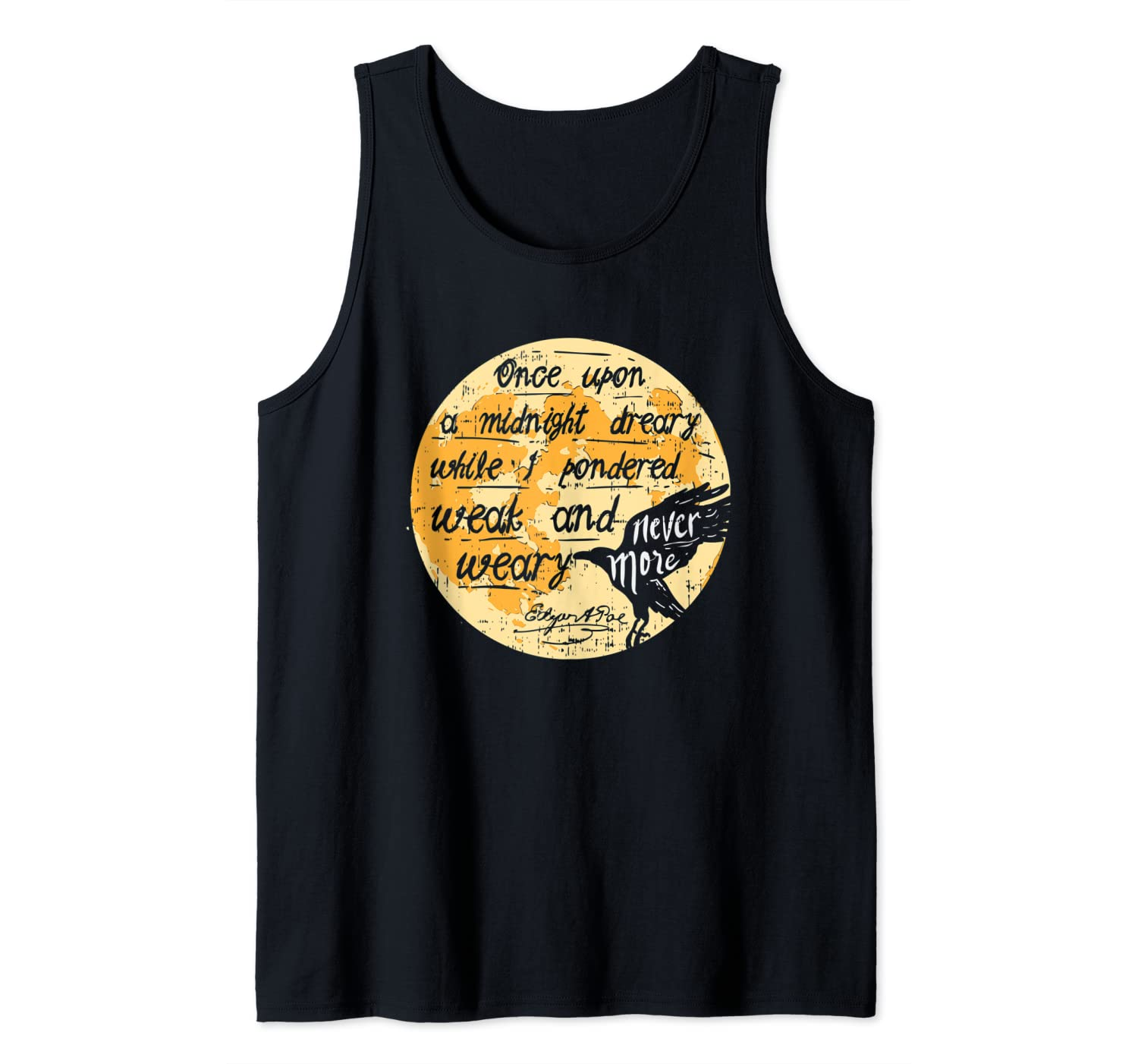 Once Upon A Midnight Edgar Allan Poe Raven Quote Nevermore Tank Top