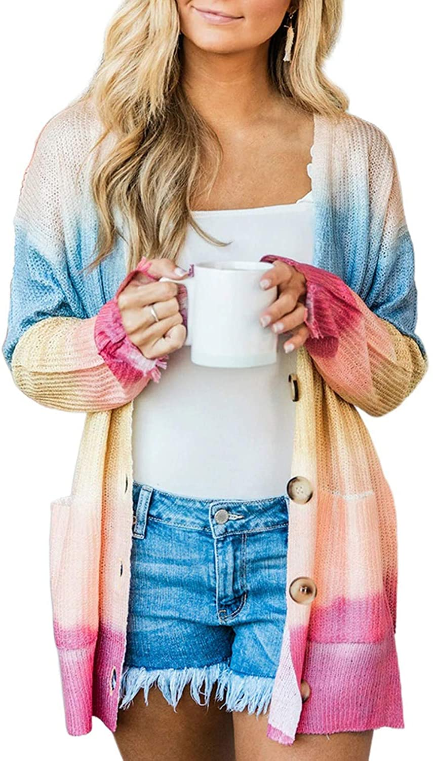 Elapsy Womens Tie Dye Print Button Open Front Cardigan Long Sleeve Knitted Shirt Sweater Coat