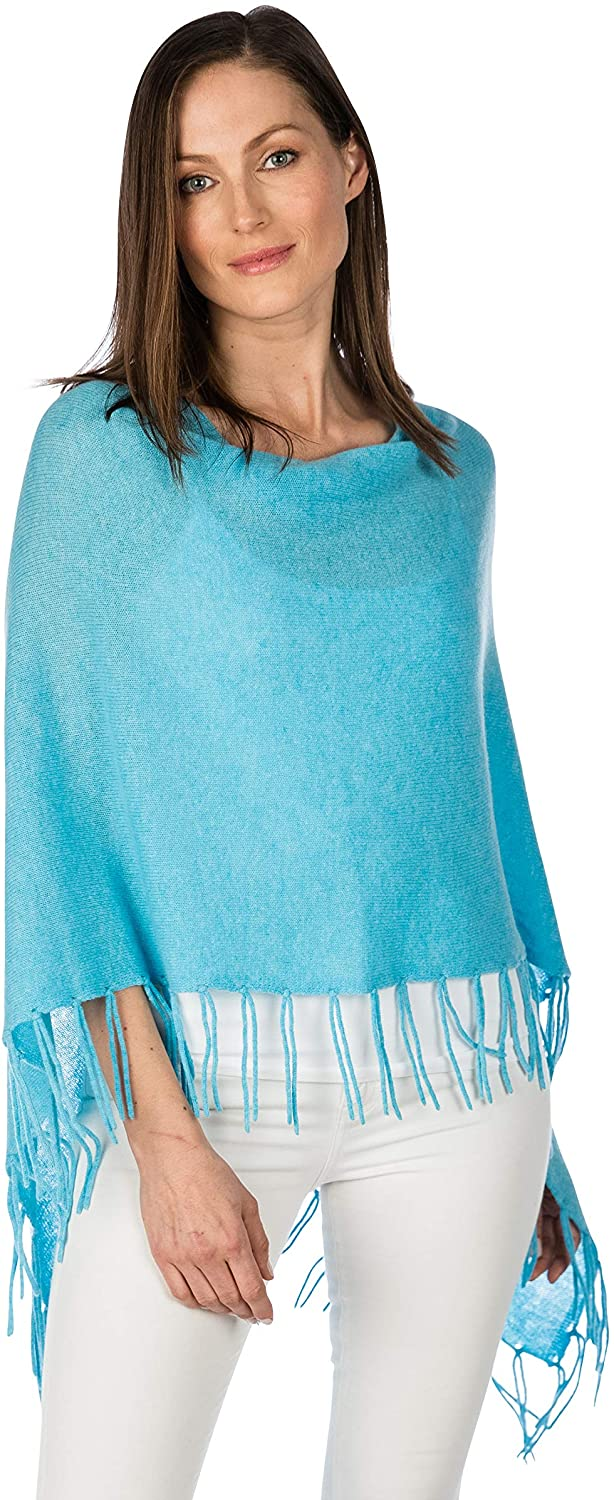 Claudia Nichole by Alashan 100% Cashmere Fringed Dress Topper Poncho